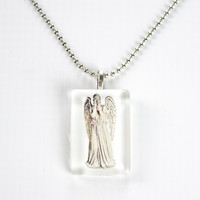 Weeping Angel Necklace, Doctor Who Glass Tile Pendant Necklace, Geeky Jewelry