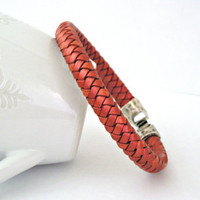 Braided leather bracelet with metallic by TyssHandmadeJewelry