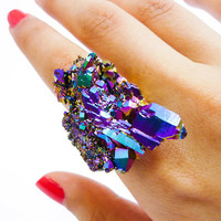 Titanium Quartz Rainbow Crystal Druzy Ring Aura Cluster by AstralEYE