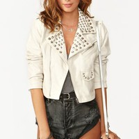 Studded Moto Crop Jacket - Ivory