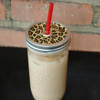 Leopard Print Mason Jar Tumbler