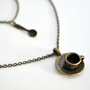 Tea Cup Necklace - Double Necklace with Tea Cup and Spoon Charms - Double Strand Necklace