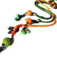 Orange Green multi strand crochet lariat necklace