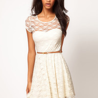 ASOS Lace Skater Dress with Belt