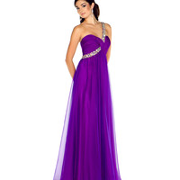 Mac Duggal Prom 2013 - One Shoulder Purple Chiffon Gown With Sequin & Rhinestone Embellishments - Unique Vintage - Cocktail, Pinup, Holiday & Prom Dresses.