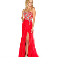Mac Duggal Prom 2013 - Strapless Cherry Chiffon Gown With Sequin & Rhinestone Embellishments - Unique Vintage - Cocktail, Pinup, Holiday & Prom Dresses.