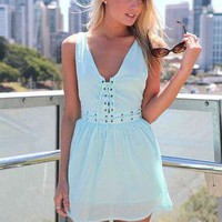 Mint Blue Sleeveless Mini Dress with Lace Up Detail