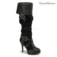 "4 1/2"" Heel, 1/2"" Platform Cuffed Knee Boot With Octopus Buckles"