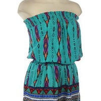 G2 Chic Aztec Print Tube Top Romper