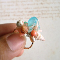 Wire Wrapped Beach Ring, Shell Ring, Adjustable Sesashell Ring, Peach Aqua Ring, Beach Cluster Ring