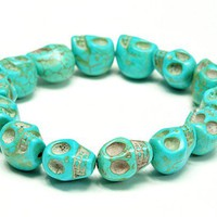 Turquoise blue Color skull stretch bracelet, Halloween/birthday Gift...friendship, love and cute br