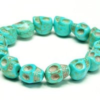 Turquoise blue Color skull stretch bracelet, Halloween/birthday Gift...friendship, love and cute bracelet gift for her, for women, for men