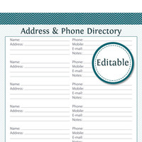 Address & Phone Directory - EDITABLE - Printable PDF