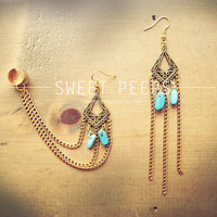 Gold Exotic Dangling Ear Cuff Set with Small Delicate Turquoise Stones