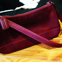 deep red leather COACH handbag. sling bag. hobo bag. boho bag. small leather purse. baguette bag. east west bag