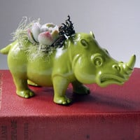 Moss Green Rhinoceros Planter - Mini Modern Art Centerpiece