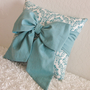 Teal Bow Throw - Accent Pillow - 12&quot; x 12&quot; - Made Upon Order - by pillowsbycindee at etsy