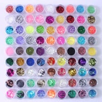 90 pots nail art decoration glitter powder rhombus hexagon striping acrylic UM