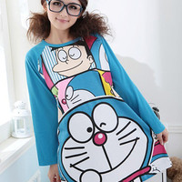 Blue Cartoon Doraemon Lovely Girls Sleepwear : Wholesaleclothing4u.com