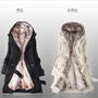 FREE SHIPPING NEW Women 2 in 1 Hooded Fur Winter Long Coat with Faux Fur Ling | eBay
