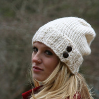Knitted Slouchy  Beanie Hat With Two Buttons - Fisherman