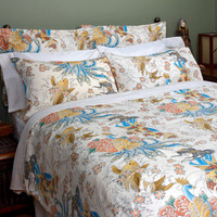Sin in Linen Asian Inspired Tattoo Duvet Cover - Geisha Garden Bedding