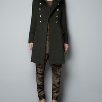 WOOLLEN MILITARY COAT - Coats - Woman - ZARA United States