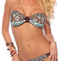 Sexy Two Piece Bandeau Ruched Brazilian Bikini Swimsuit, Medium, Ethnic Print