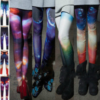 Women Fluorescent Aurora Space Galaxy Sexy Printing Leggings Tights Pants WD235