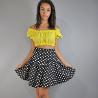 $40.00 80s skirt HIGH waist SKIRT  Polka Dotted Full by rockstreetvintage