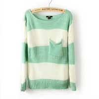 Stripe Pocket Woolen Blend Sweater For Women-EMS