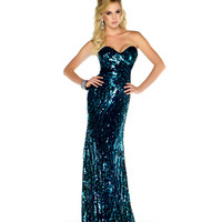 Mac Duggal Prom 2013 - Strapless Black & Green Sequin Gown - Unique Vintage - Cocktail, Pinup, Holiday & Prom Dresses.