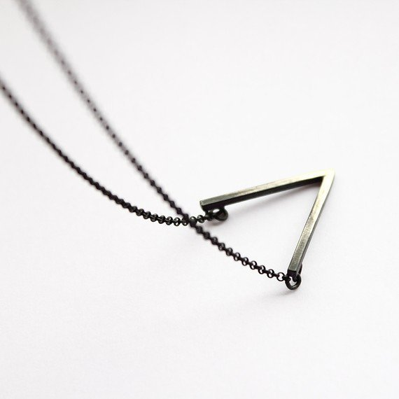 V  oxidized sterling silver necklace with oxidized by andrea0503