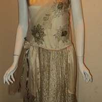 Antique 1920s Silk Satin Wedding Gown Flapper Metallic Lace Netting Ribbonwork Lame Restored Original