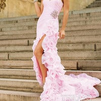 New Pink Flower Mermaid Party Prom Ball Evening Gowns Pageant Dresses Custom