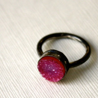 Pink and Black Pink Drusy in Oxidized Ring by RachelPfefferDesigns