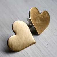 Large Brass Heart Studs by RachelPfefferDesigns on Etsy