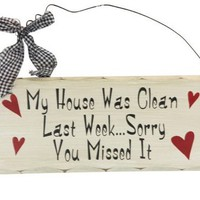 Wooden Plaque Clean House FREE SHIP from MyStuff