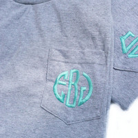 monogrammed pocket t-shirt, personalized pocket t-shirt