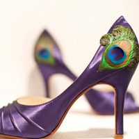 Purple Satin Pleated Peep Toe Peacock Pumps ... ANY SIZE