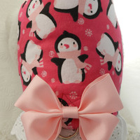 Adorable Pink PENGUIN Snowflake Winter Theme Harness with Lace & Bow. Custom made for your Cat, Dog or Ferret.