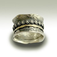 Meditation floral band Sterling silver band with by artisanlook