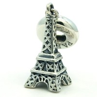 ".925 Sterling Silver "" Eiffel Tower w/ Paris Stamp "" Bead Compatible with Pandora Chamilia Kay Troll Bracelet"