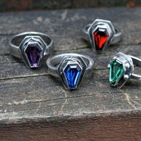 Custom color True Blood gemstone coffin ring by idlehandsdesigns