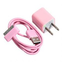 2 in 1 US Standard USB Power Charger for iPhone 4/4S/3GS/3G - Pink