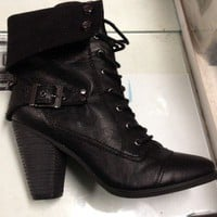 Lace Up Boots Heeled Combat Boots