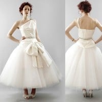 Astor Hand woven silk and tulle asymmetric by AlexandraKingBridal