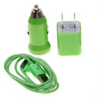 3 in 1 US Standard USB Power Car Adapter Auto Charger for iPhone 4/4S/3GS/3G - Green