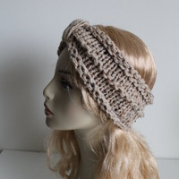 Chunky handmade knitted crochet headband head warmer hat cap beige