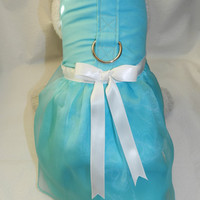 Fancy Elegant Bridal Party Wedding Holiday TIFFANY BLUE Satin & Organza Princess Harness Dress. Custom Made for your Cat, Dog or Ferret.
